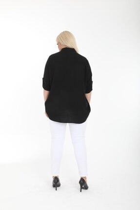 Şirin Butik Kadın Siyah Büyük Beden Gömlek 3