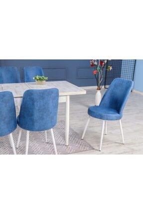 Stoker Lora Premıum Yemek Masa Takımı 6 Sandalyeli (mavi) 1