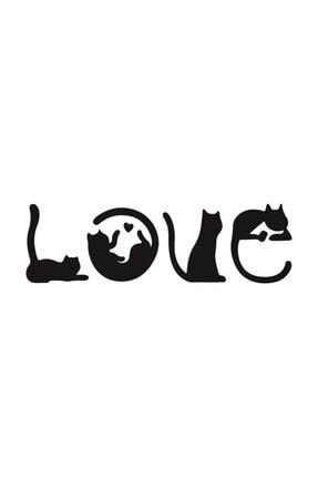 Hellove Kedi Tablosu Love Duvar Yazısı Dekoratif Tablo Ahşap Duvar Tablosu 4