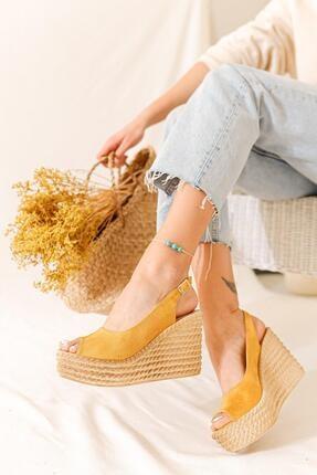 Limoya Kadın Hardal Süet Dolgu Topuklu Sandalet 1