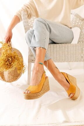 Limoya Kadın Hardal Süet Dolgu Topuklu Sandalet 2