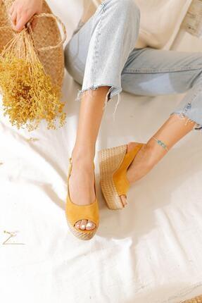 Limoya Kadın Hardal Süet Dolgu Topuklu Sandalet 3