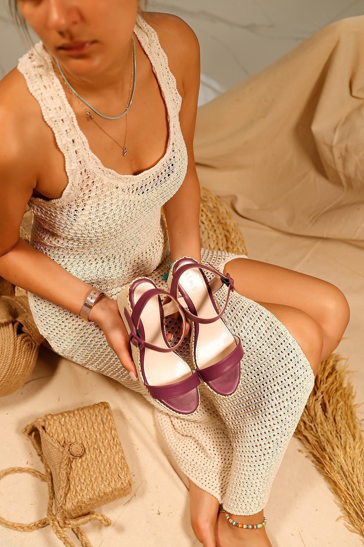Kadın Mor Elisa Cilt Gerçek Hasır Dolgu Topuklu Sandalet