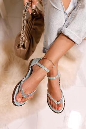 Limoya Kadın Su Yeşili Gümüş Taşlı Parmak Arası Sandalet 4