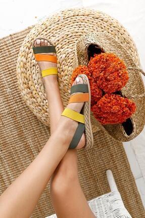 Limoya Kadın Yeşil Limon Portakal Lastik Sandalet 2