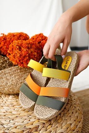 Limoya Kadın Yeşil Limon Portakal Lastik Sandalet 3