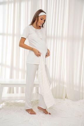 Siyah İnci Ekru 3'lü Sabahlıklı Dantelli Düğmeli Modal Hamile Pijama Takım Bandana Hediyeli 1