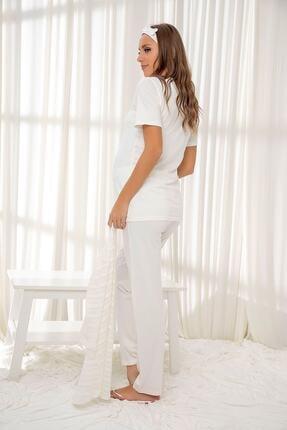 Siyah İnci Ekru 3'lü Sabahlıklı Dantelli Düğmeli Modal Hamile Pijama Takım Bandana Hediyeli 2