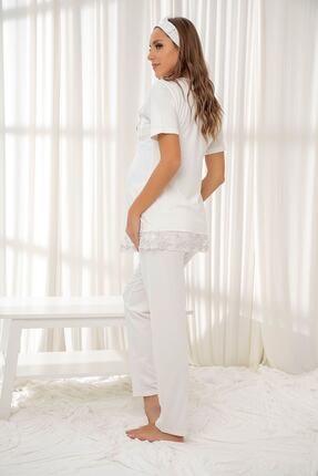 Siyah İnci Ekru Dantelli Düğmeli Modal Hamile Pijama Takım Bandana Hediyeli 1