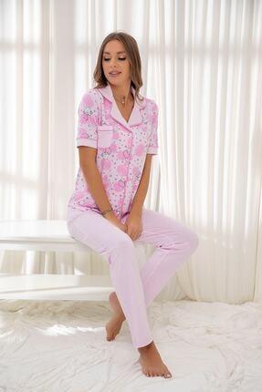 Siyah İnci Pembe Hamile Pamuklu Düğmeli Biyeli Pijama Takım 0