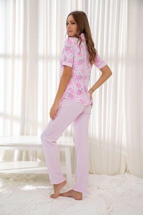 Siyah İnci Pembe Hamile Pamuklu Düğmeli Biyeli Pijama Takım 1