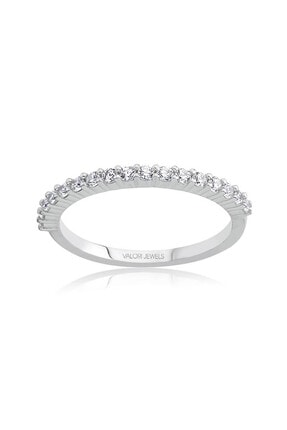 Valori Jewels Yarımtur Zirkon Beyaz Taşlı, Gümüş Yüzük 0