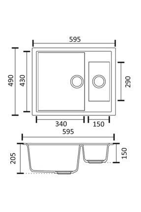 Vıvıano     1,5 Göz Beyaz 50x60 Cm Granit Evye Sifon 2