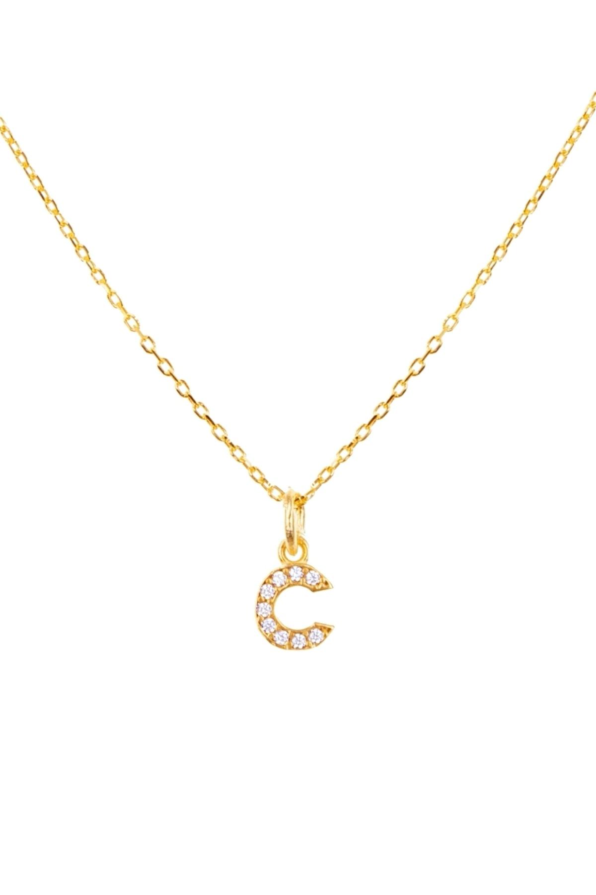 C Harfi Altın Kaplamalı Gümüş Kolye - N157501