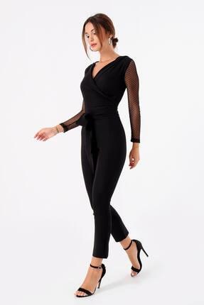 Modakapimda Kadın Siyah Kolları Tül Tasarım Tulum 1453MKSP 0