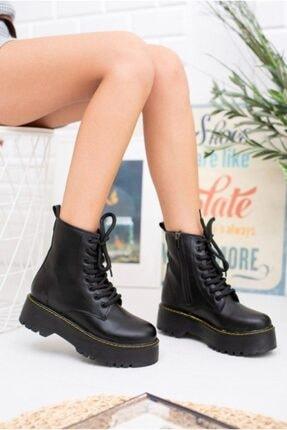Öncerler Ayakkabı Kadın Siyah Cilt Kalın Taban Bot 1
