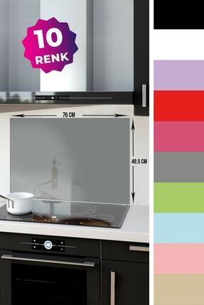 Decorita Düz Renk - Gri | Cam Ocak Arkası Koruyucu | 49,5cm x 76cm 0