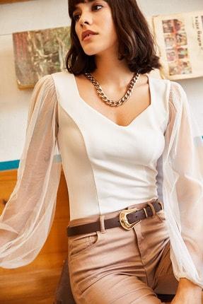 Olalook Kadın Ekru Kolu Tül V Yaka Örme Bluz BLZ-19001192 1