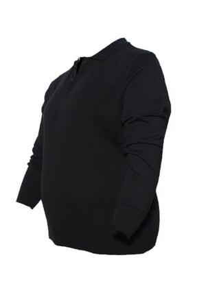 Dio Rise Erkek Siyah Büyük Beden Polo Yaka Mevsimlik Triko Kazak 1