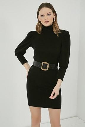 Sateen Kadın Siyah Balıkçı Yaka Balon Kol Elbise  STN723KEL172 2