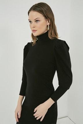 Sateen Kadın Siyah Balıkçı Yaka Balon Kol Elbise  STN723KEL172 3