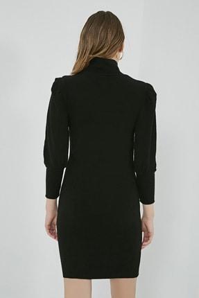 Sateen Kadın Siyah Balıkçı Yaka Balon Kol Elbise  STN723KEL172 4