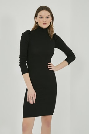 Sateen Kadın Siyah Büzgülü Uzun Kol Balıkçı Yaka Elbise  STN769KEL102 1