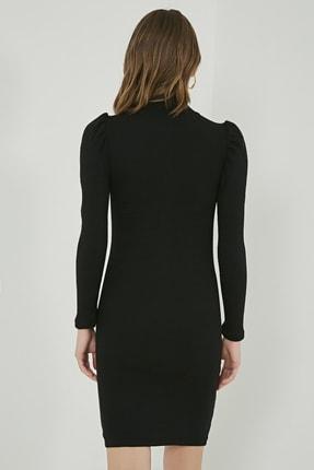 Sateen Kadın Siyah Büzgülü Uzun Kol Balıkçı Yaka Elbise  STN769KEL102 3
