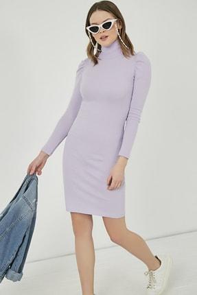 Sateen Kadın Lila Büzgülü Uzun Kol Balıkçı Yaka Elbise  STN769KEL102 0