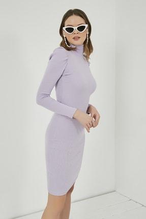 Sateen Kadın Lila Büzgülü Uzun Kol Balıkçı Yaka Elbise  STN769KEL102 1