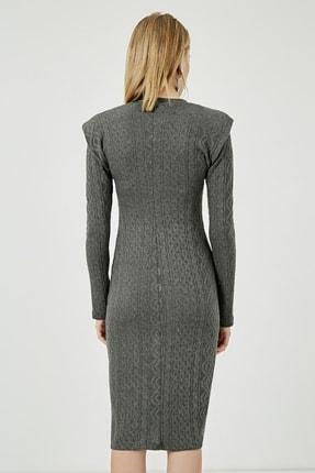 Sateen Kadın Antrasit Uzun Kol Midi Vatkalı Elbise  STN115KEL110 4
