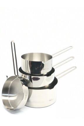 İnci Çelik Kaçerola Sütlük 4'lü Set (sosluk Ve 12cm-14cm-16cm Sütlükler) 0