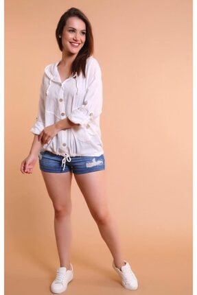 Miu Store Kadın Beyaz Kapüşonlu Gömlek 1