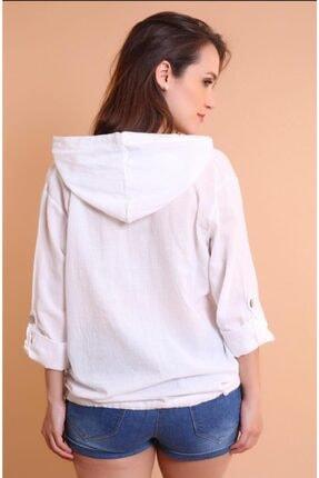 Miu Store Kadın Beyaz Kapüşonlu Gömlek 2