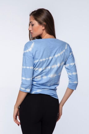 Mlike Fashion Kadın Mavi Yarım Kol  Batikli Bağlamalı T-shirt 1