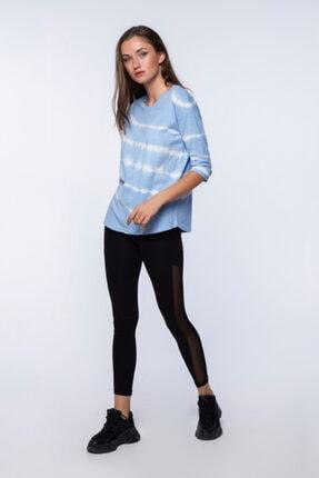 Mlike Fashion Kadın Mavi Yarım Kol  Batikli Bağlamalı T-shirt 3