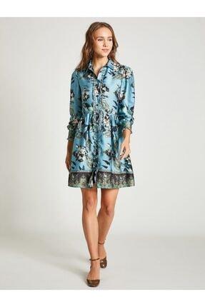 Vekem Kadın Mavi Gömlek Yaka Çiçek Desenli Elbise 0