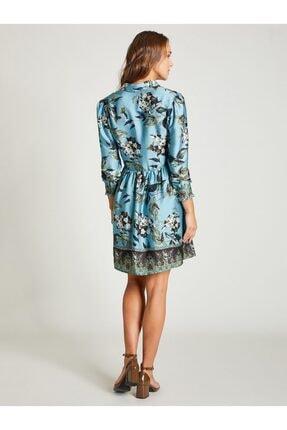 Vekem Kadın Mavi Gömlek Yaka Çiçek Desenli Elbise 1