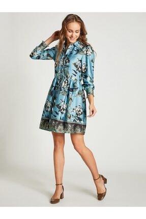 Vekem Kadın Mavi Gömlek Yaka Çiçek Desenli Elbise 2