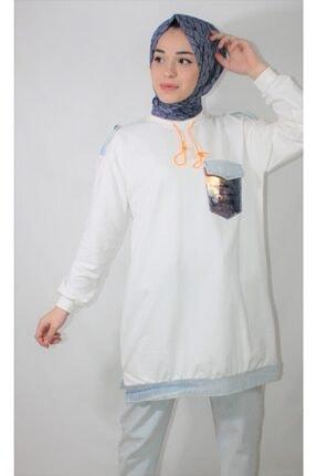 Loreen Kadın Beyaz Pul Cep Detay Soul Sweatshirt 0