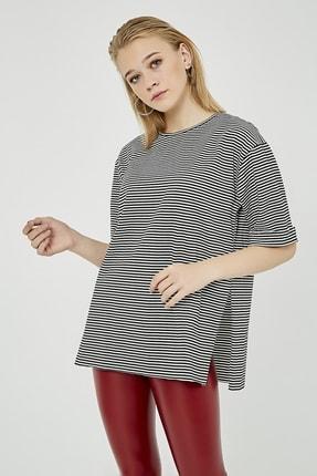 Sateen Kadın Siyah Çizgili Yırtmaçlı Uzun Tshirt 3