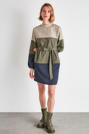 TRENDYOLMİLLA Çok Renkli Kuşaklı Elbise TWOAW21EL2074 0