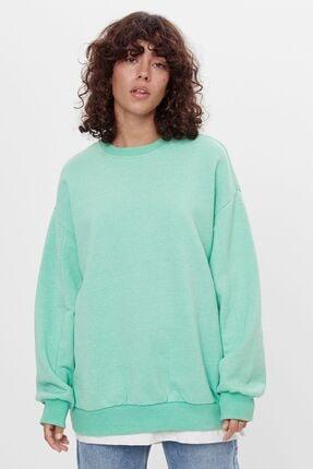 Bershka Kadın Yeşil Oversize Sweatshirt 0
