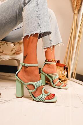 Limoya Kadın Su Yeşili Örgü Detaylı Topuklu Sandalet 2