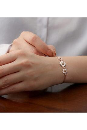 Gümüşistan Kadın Rose 925 Ayar Gümüş Papatya Detaylı Bileklik 0