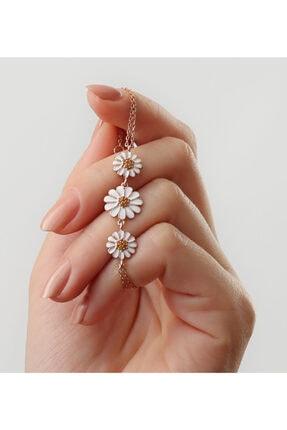 Gümüşistan Kadın Rose 925 Ayar Gümüş Papatya Detaylı Bileklik 1