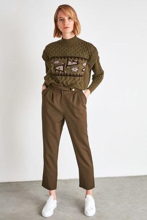 TRENDYOLMİLLA Haki Çıtçıtlı Pantolon TWOSS20PL0131 3