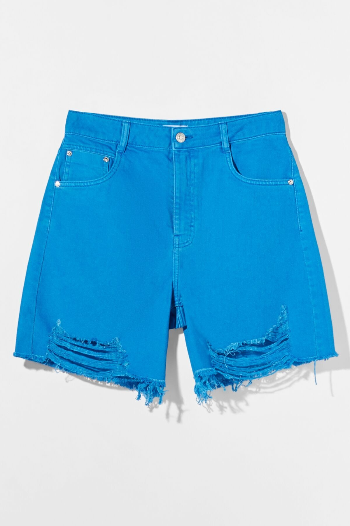 Bershka Kadın Mavi Distressed Fitilli Bermuda Şort 02676019 4