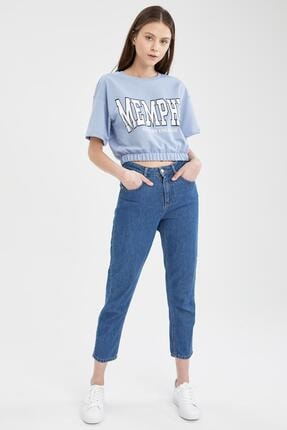 Defacto Kadın Mavi Yazı Baskılı Beli Lastikli Crop Tişört 1