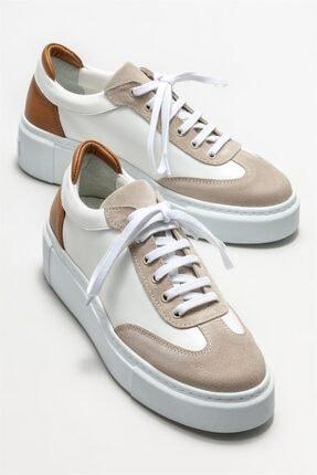 Elle Kadın Beyaz Deri Spor Ayakkabı 1